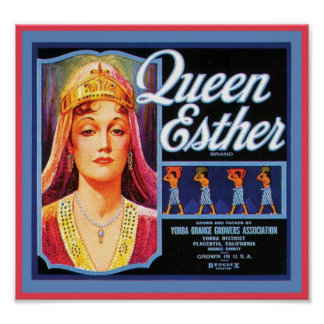 Queen Esther Vintage Crate Label Posters