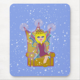 Queen Faerie Blonde Sitting on Throne Cartoon Art Mouse Pad