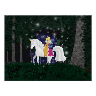 Queen Faery and Unicorn Forest Print