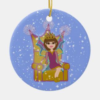 Queen Fairy Brunette Sitting on Throne Cartoon Art Ceramic Ornament