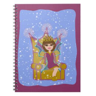 Queen Fairy Brunette Sitting on Throne Cartoon Art Note Books
