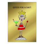 QUEEN FOR A DAY CHICK ON A PEDESTAL CARD
