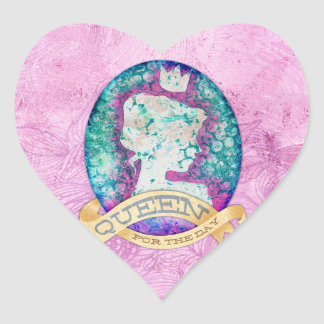 Queen For The Day Birthday Heart Sticker