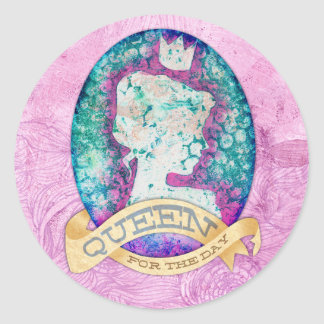 Queen For The Day Birthday Round Stickers