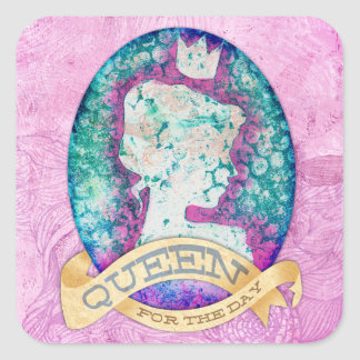 Queen For The Day Birthday Square Sticker