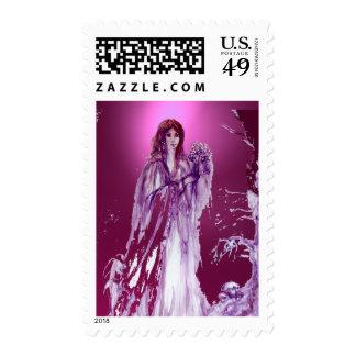 QUEEN GUINEVERE gem pink purple Stamp