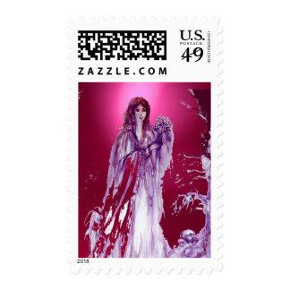 QUEEN GUINEVERE gem pink red Postage Stamp