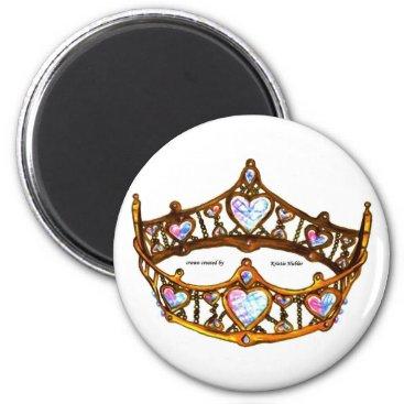 Beach Themed Queen Heart Gold Crown Tiara white standard magnet