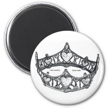 Beach Themed Queen Heart Monotone Silver Crown Tiara white Magnet