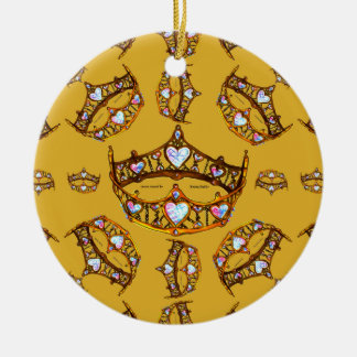 Queen Hearts Gold Crown Tiara pattern gold Ceramic Ornament