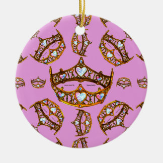 Queen Hearts Gold Crown Tiara pattern pink lilac Ceramic Ornament