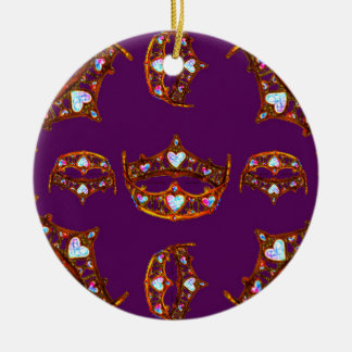 Queen Hearts Gold Crown Tiara pattern royal purple Ceramic Ornament