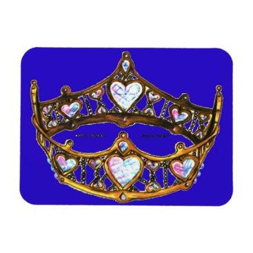 Beach Themed Queen Hearts Gold Crown Tiara royal blue magnet