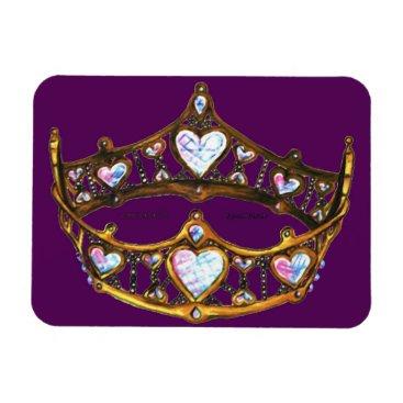 Beach Themed Queen Hearts Gold Crown Tiara royal purple magnet