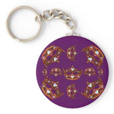 Beach Themed Queen Hearts Gold Crowns Tiaras royal purple Keychain