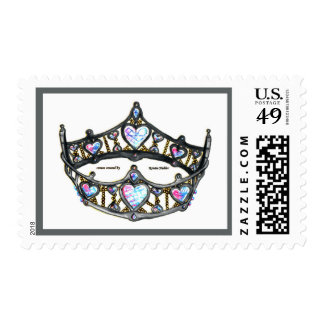 Queen Hearts Silver Crown Tiara on white postage