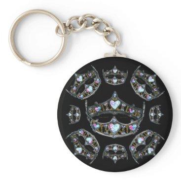 Beach Themed Queen Hearts Silver Crowns Tiaras black keychain