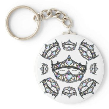 Beach Themed Queen Hearts Silver Crowns Tiaras white keychain