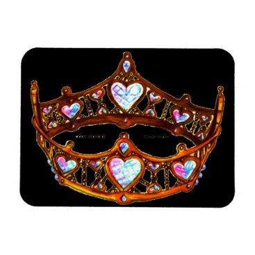 Beach Themed Queen Hearts Warm Gold Crown black magnet