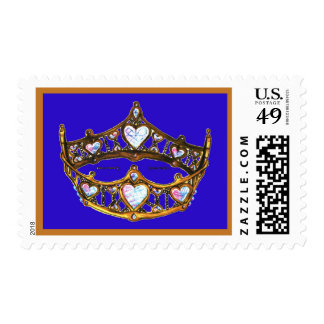 Queen Hearts Yellow Gold Crown Tiara blue violet Postage