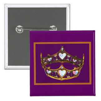 Queen Hearts Yellow Gold Crown Tiara royal purple Button