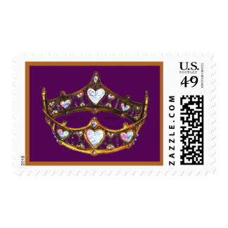 Queen Hearts Yellow Gold Crown Tiara Royal Purple Postage