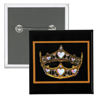 Queen Hearts Yellow Gold Crown Tiara white button