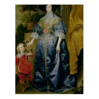 Queen Henrietta Maria and her dwarf Postcard