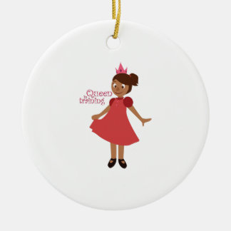 Queen in Training Double-Sided Ceramic Round Christmas Ornament