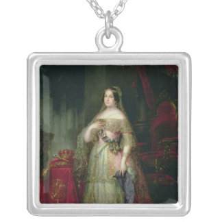 Queen Isabella II  of Spain Square Pendant Necklace