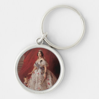 Queen Isabella II of Spain Silver-Colored Round Keychain