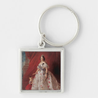 Queen Isabella II of Spain Silver-Colored Square Keychain