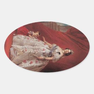 Queen Isabella II of Spain Oval Sticker