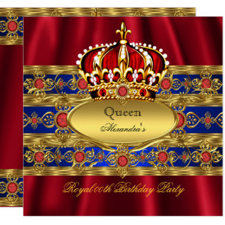 Queen King Prince Royal Blue Regal Red Crown 2 Card