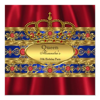 Queen King Prince Royal Blue Regal Red Crown Card