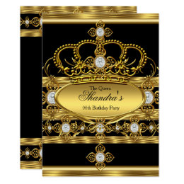 Queen invitations announcements zazzle queen king prince royal gold diamond crown party card stopboris Gallery