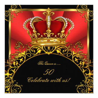 Queen King Regal Red Gold Royal Birthday Party 3 Card