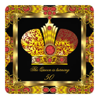 Queen King Regal Red Gold Royal Birthday Party 7 Card