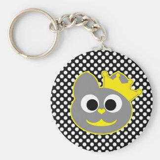 Queen Kitty Yellow - Gray Keychain