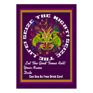 Queen Mardi Gras Throw Card Double V-2 Large Business Cards (Pack Of 100)