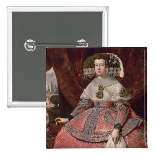 Queen Maria Anna of Spain in a red dress Pinback Button