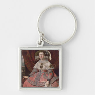 Queen Maria Anna of Spain in a red dress Silver-Colored Square Keychain