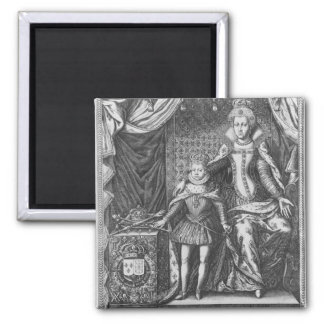 Queen Marie de Medicis and Louis XIII as a 2 Inch Square Magnet