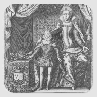 Queen Marie de Medicis y Louis XIII como a Pegatina Cuadrada