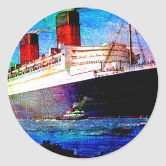 QUEEN MARY 2 CLASSIC ROUND STICKER