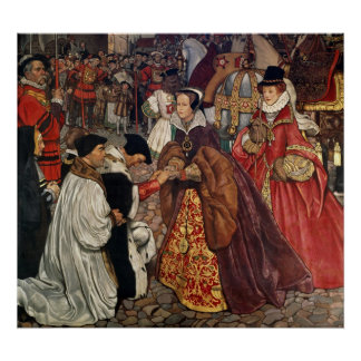 Queen Mary and Princess Elizabeth entering Poster