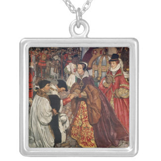 Queen Mary and Princess Elizabeth entering Silver Plated Necklace