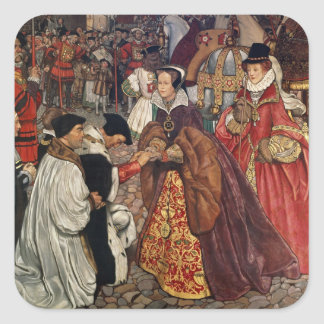 Queen Mary and Princess Elizabeth entering Square Sticker