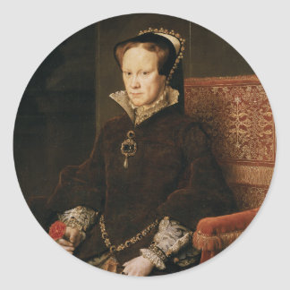 Queen Mary I of England Maria Tudor by Antonis Mor Round Stickers