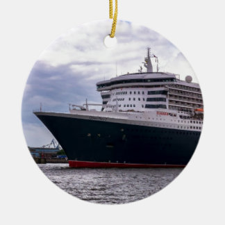 Queen Mary II in Hamburg Harbour Double-Sided Ceramic Round Christmas Ornament